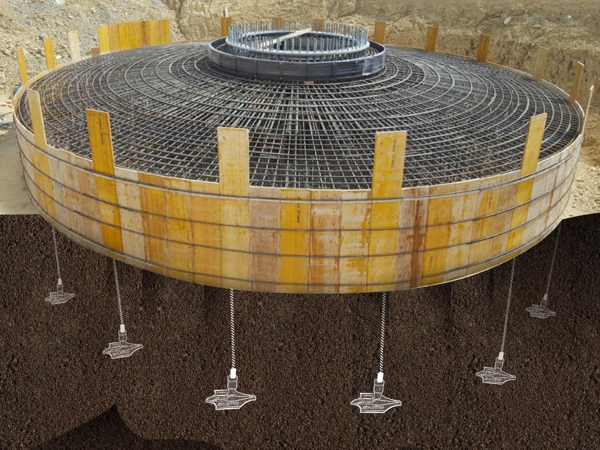 Illustration de l'ancrage d'une fondation d'éolienne avec le système d'ancrage au sol Platipus