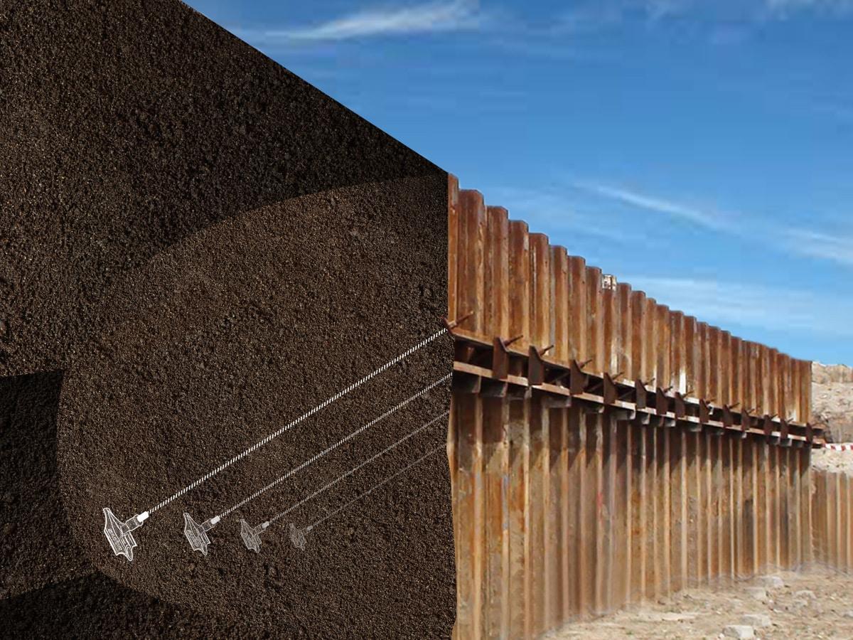 Illustration de l'ancrage de palplanches avec le système d'ancrage au sol Platipus