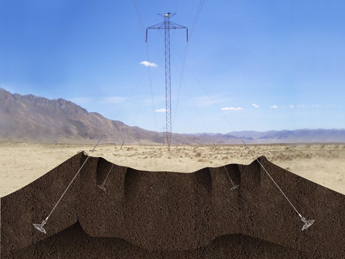 Illustration de l'ancrage de poteau électrique avec le système d'ancrage au sol