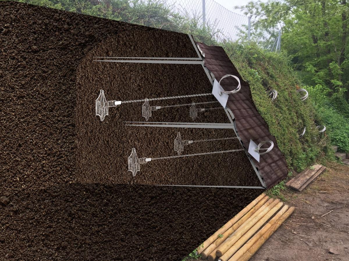 Illustration de l'ancrage de terres armées avec le système d'ancrage au sol Platipus