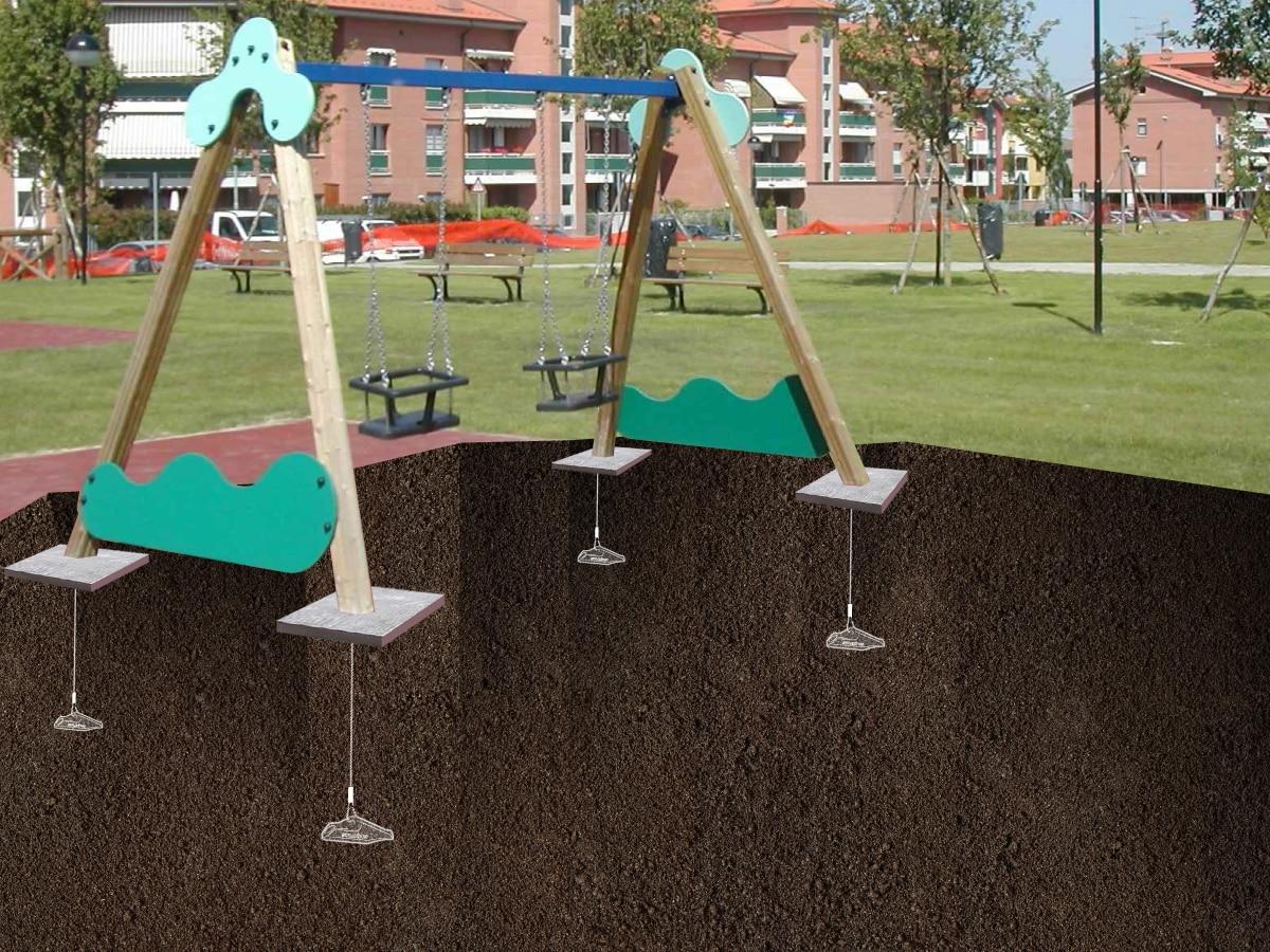 Illustration de l'ancrage pour la mise en sécurité d'un parc de jeu pour enfants