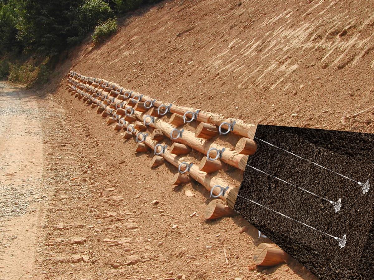 Illustration de l'ancrage d'un caisson en bois avec le système d'ancrage au sol Platipus