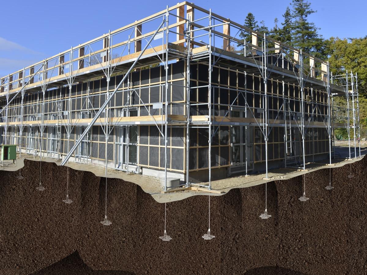 Illustration d'un ancrage de fondations avec le système d'ancrage de Platipus