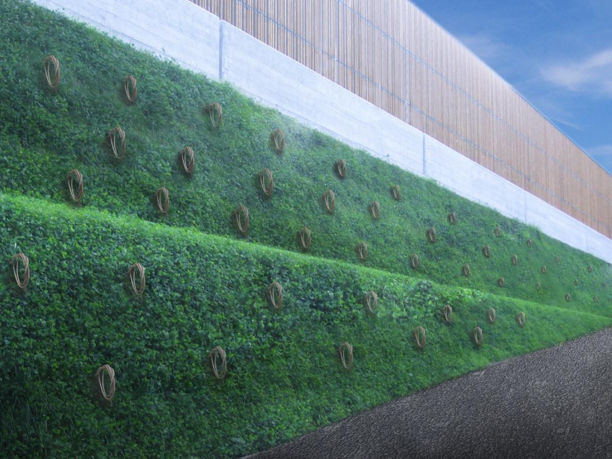 Illustration de l'ancrage d'un talus en terres renforcées avec le système d'ancrage au sol Platipus