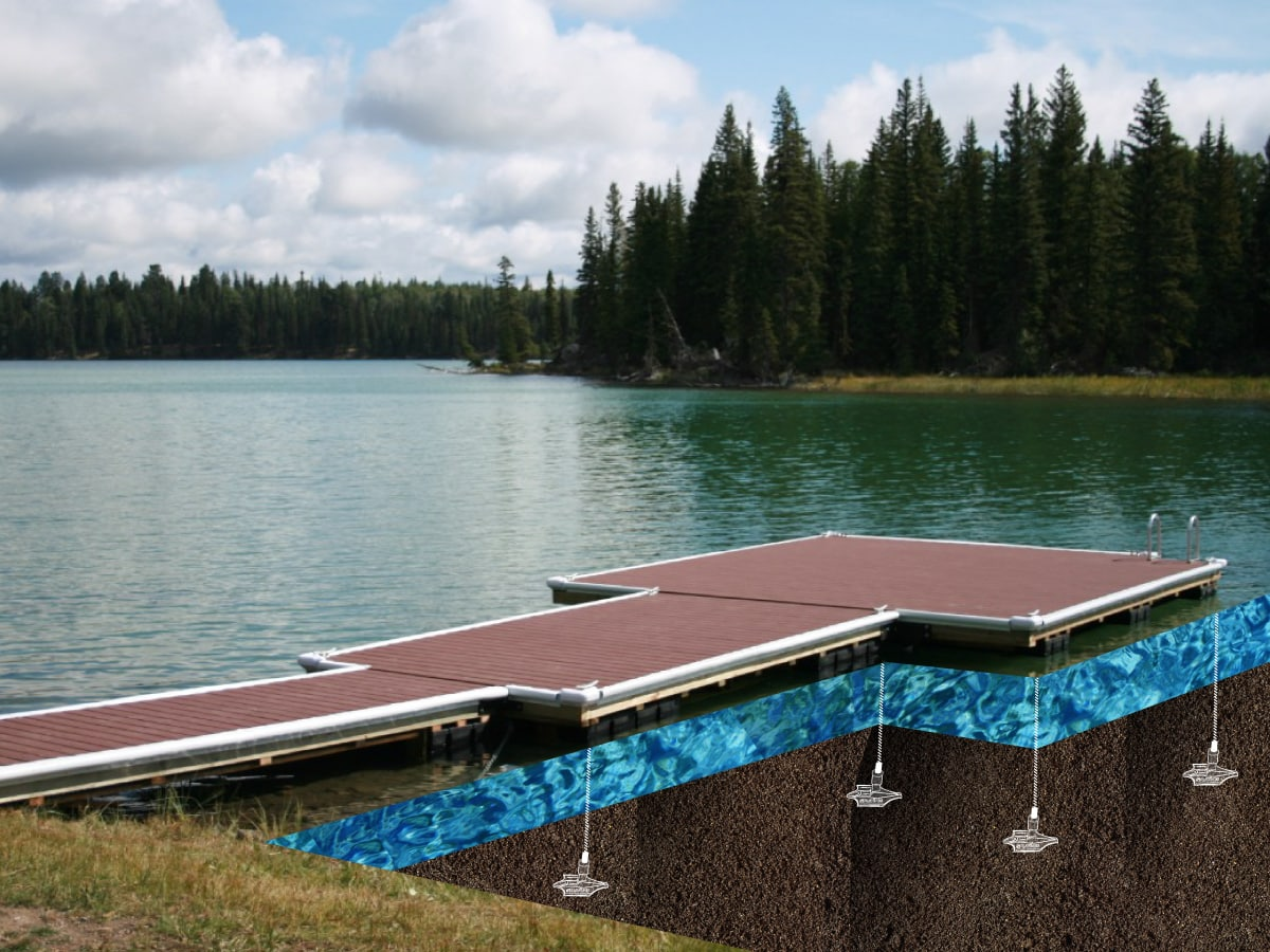 Illustration de l'ancrage de structures flottantes avec le système d'ancrage au sol