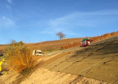 Travaux de stabilisation d'un talus sur un chemin de vigne à Dardagny