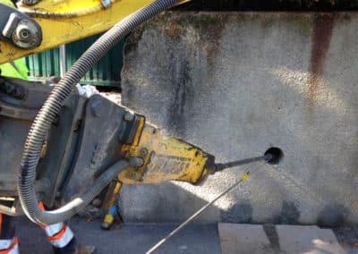 Travaux de renforcement d'un mur avec le système d'ancrage Platipus