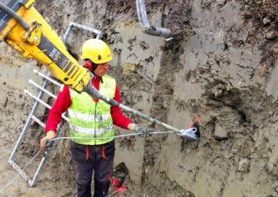 Travaux d'ancrage d'une paroi d'excavation avec le système d'ancrage Platipus