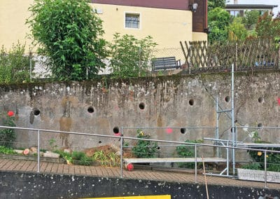 Travaux de stabilisation d'un mur fissuré avec le système d'ancrage Platipus