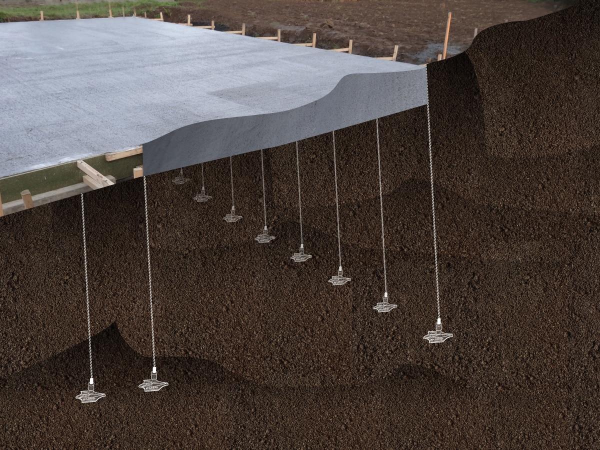 Ancrage de fondations par Anteq avec le système d'ancrage Platipus