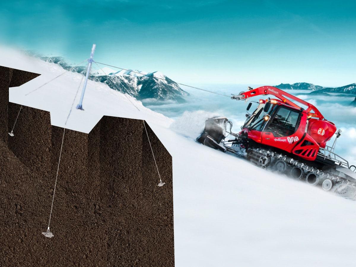 Ancrage d'un poteau pour dameuse à neige par Anteq SA