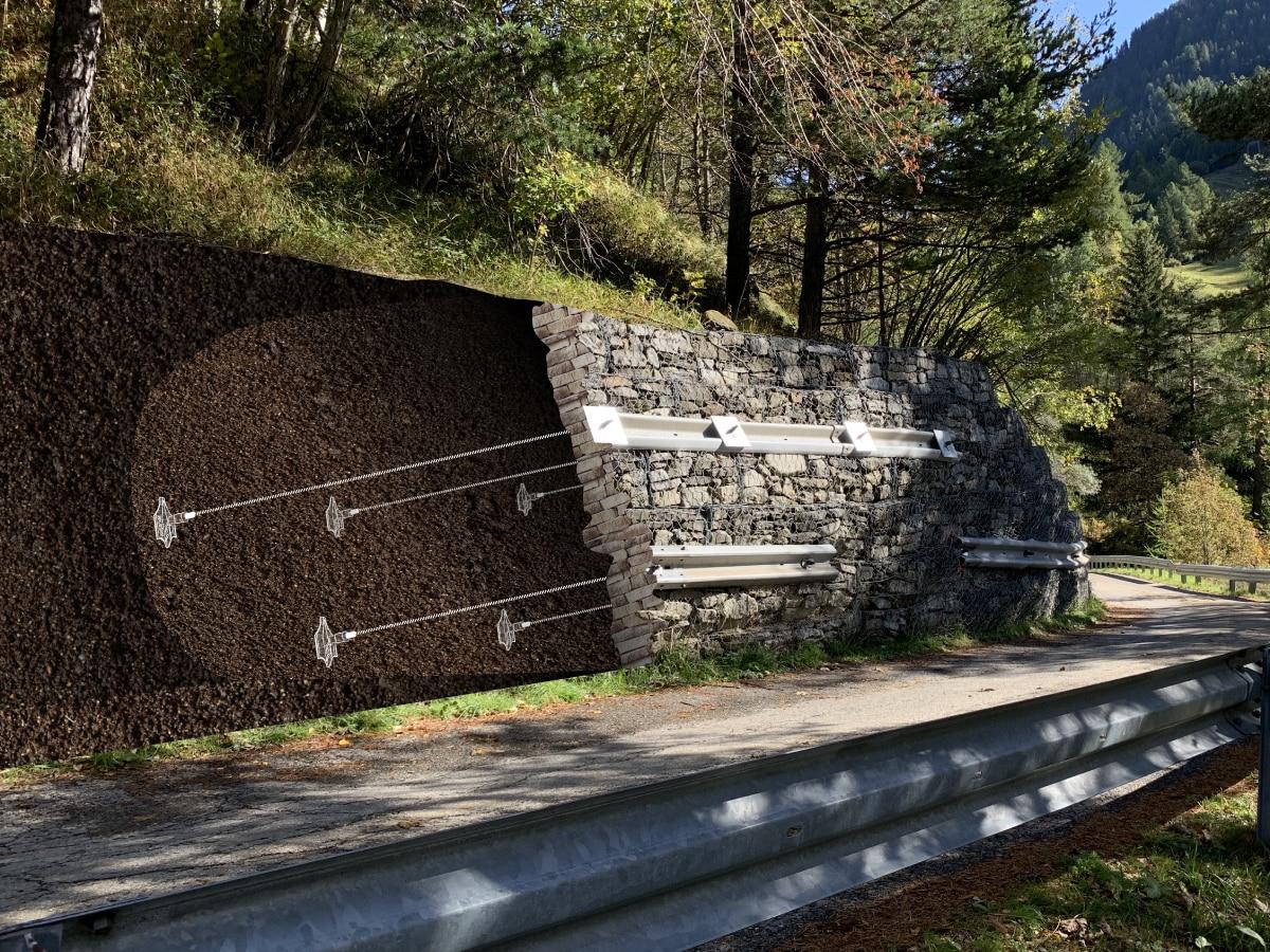 Renforcement de mur en gabions avec le système d'ancrage Platipus