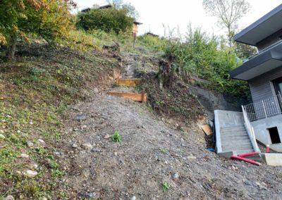 Travaux d'ancrage pour la stabilisation d'un talus très raide