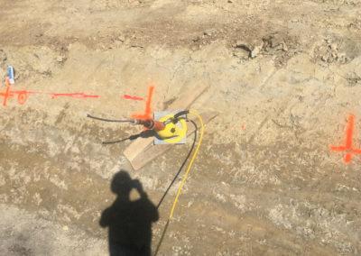 Travaux d'ancrage d'une paroi d'excavation à Courrendlin