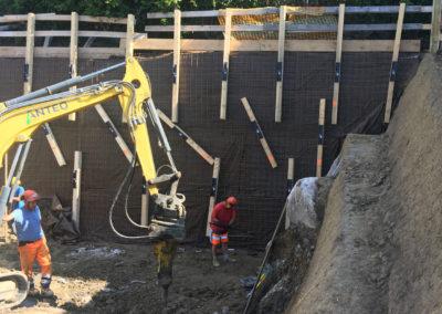 Travaux d'ancrage d'une paroi d'excavation à Lutry