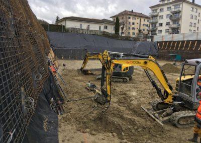 Travaux d'ancrage temporaire d'une fouille d'excavation à Villars-sur-Glâne
