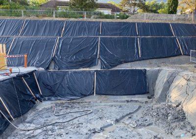 Travaux d'ancrage d'une paroi d'excavation à Veyrier