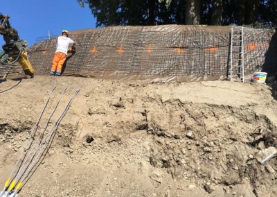 Travaux d'ancrage d'une paroi d'excavation à Chexbres