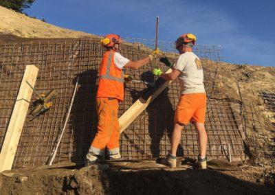 Travaux d'ancrage d'une paroi d'excavation à Monthey