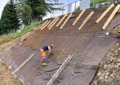 Travaux d'ancrage d'une paroi d'excavation à Gryon