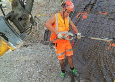 Travaux d'ancrage d'une paroi d'excavation à Genève