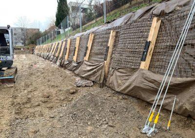 Travaux d'ancrage d'une fouille d'excavation à Châtel-St-Denis