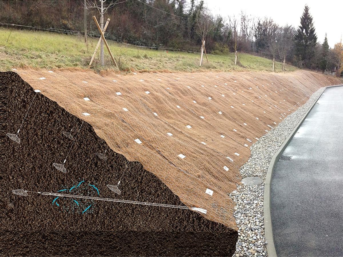 Illustration de l'ancrage et du drainage d'un talus avec le système d'ancrage au sol Platipus