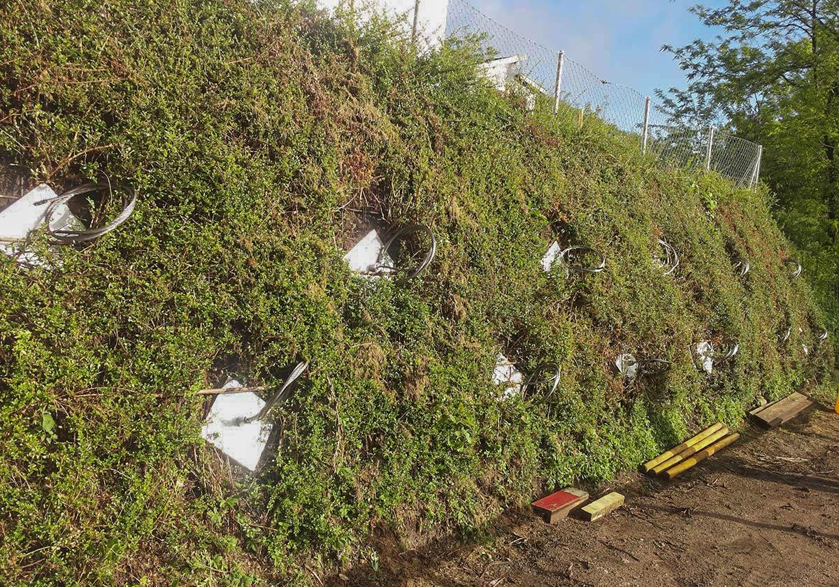 Ancrage d'un talus en terres renforcées afin de le sécuriser